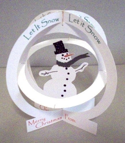 Printable Snowman Pop-Up Card Globe Let It Snow -DESIGN NO. 7831 Merry Christmas