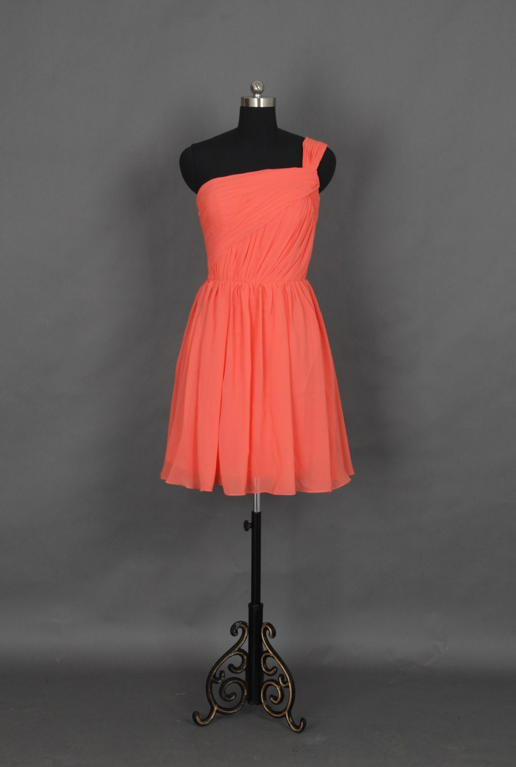 Popular One Shoulder Short Bridesmaid Dress, Coral Chiffon Dress