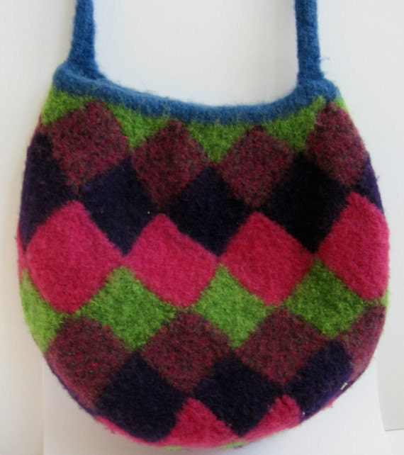 Entrelac Felted bag in bright colors