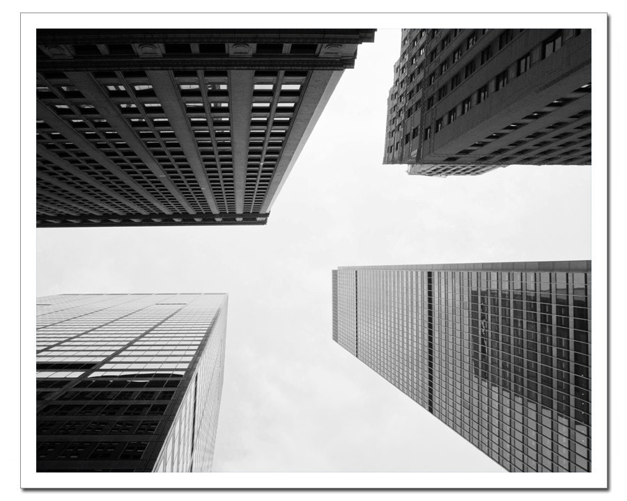 New York Photography, NYC Fine Art Photography - 16x20, Print Canvas or Photo Paper Skyscrapers Upside-down Black and White oht - stoevvalentin