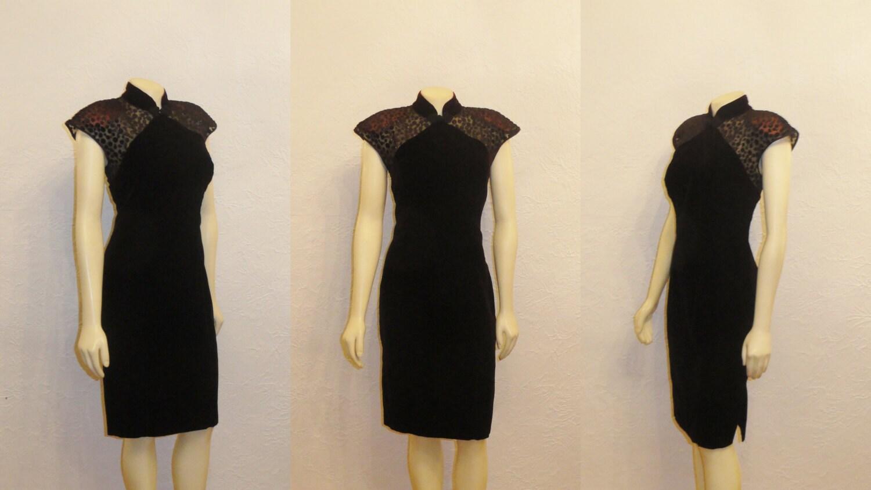 Vintage Dress 70s Burnout Velvet Cap Sleeves Union Made In USA Size Medium