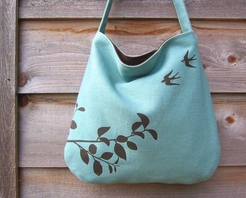 Hemp Bag with Flying Swallows with Organic Cotton Lining - Turquoise Blue - Uzura