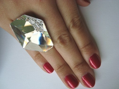 GIANT Futuristic Swarovski Ring I made for Beth Ditto - free shipinng
