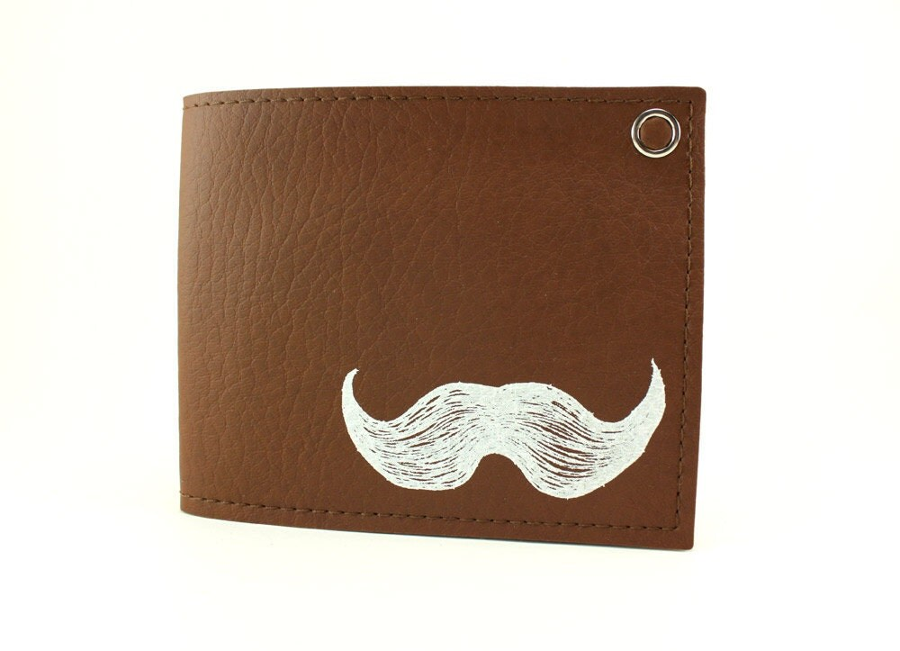 Mustache Wallet - Brown and White - Vegan - Best Holiday gift ever