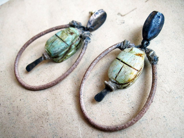 Of Bondage. Ceramic Scarabs with Leather Hoop. Rustic gypsy assemblage with rhinestones.