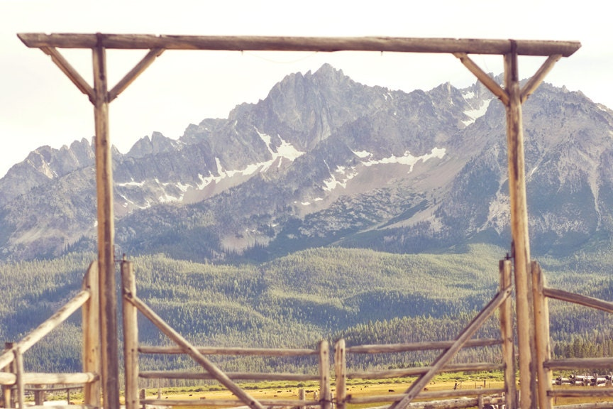 The Ranch - 8 x 12 Fine Art Photograph - rugged western mountain gate fence log landscape home decor print - jessicatorres