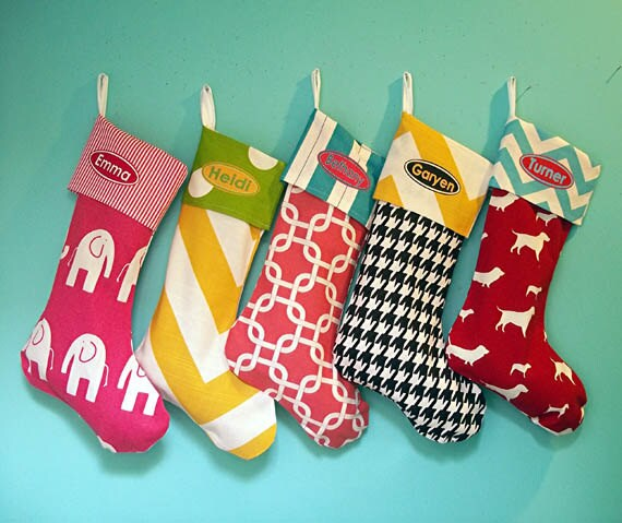 Christmas Stocking, Personalized, Family Stockings, Whimsical, Colorful, Fun