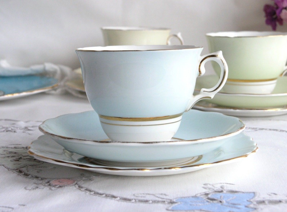 Pale blue vintage tea set: Colclough bone china cup, saucer, plate, perfect for a wedding or summer tea party - NancysTeaShop