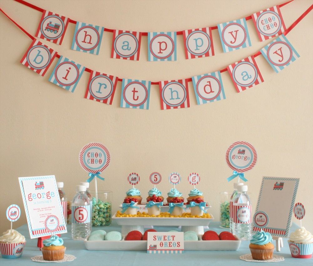 Choo Choo Vintage Train Birthday Party Package Personalized FULL Collection Set  - PRINTABLE DIY - PS802x