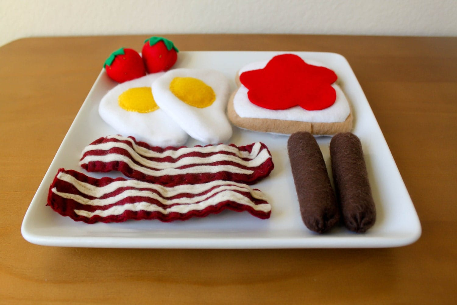 Felt Food - Eggs w/ Meats and Toast Play Food