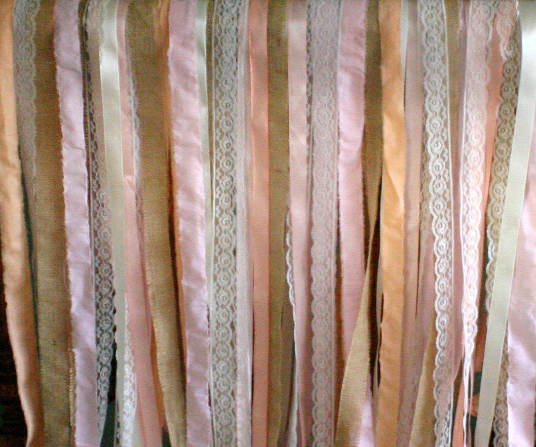 Burlap backdrop streamer,  5' x 6' TALL lace and ribbon for weddings, Chandelier streamer for weddings