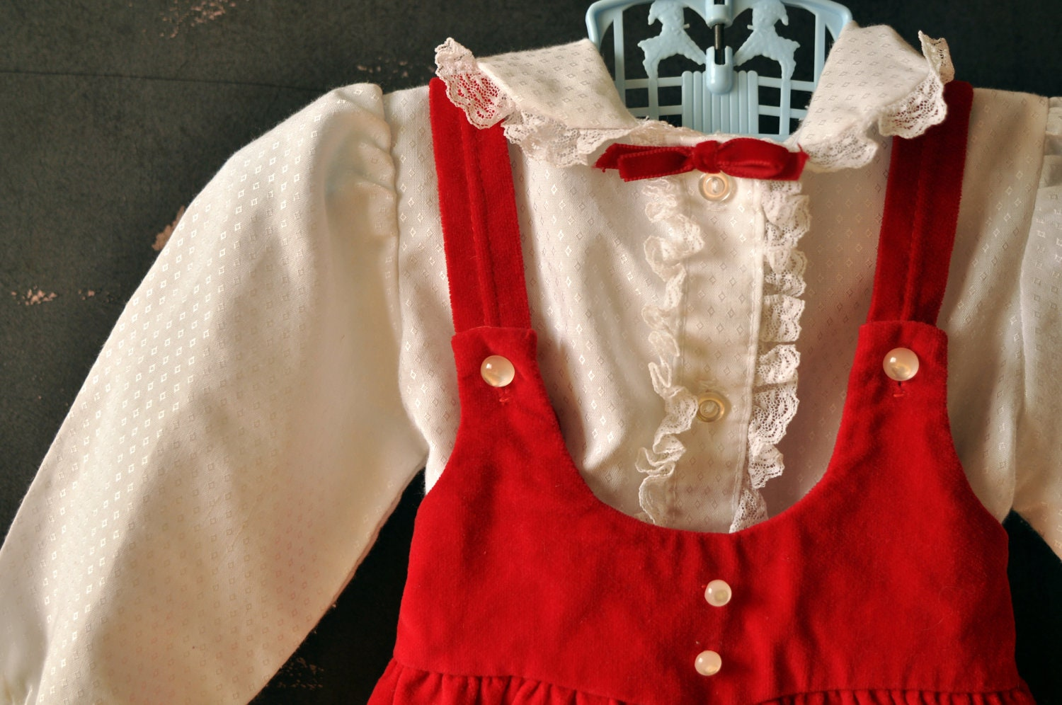 Baby girl red velvet jumper dress with white blouse and red bow, size 12 months - LaDiDottie