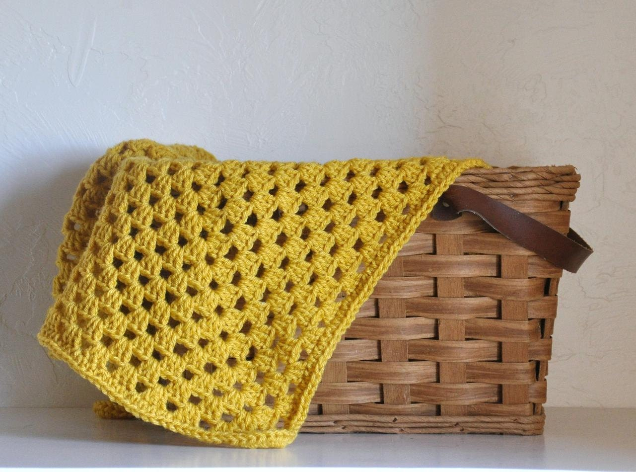 Mustard Baby Blanket  Granny Square  Style Gold Yellow Afghan - AllThingsGranny