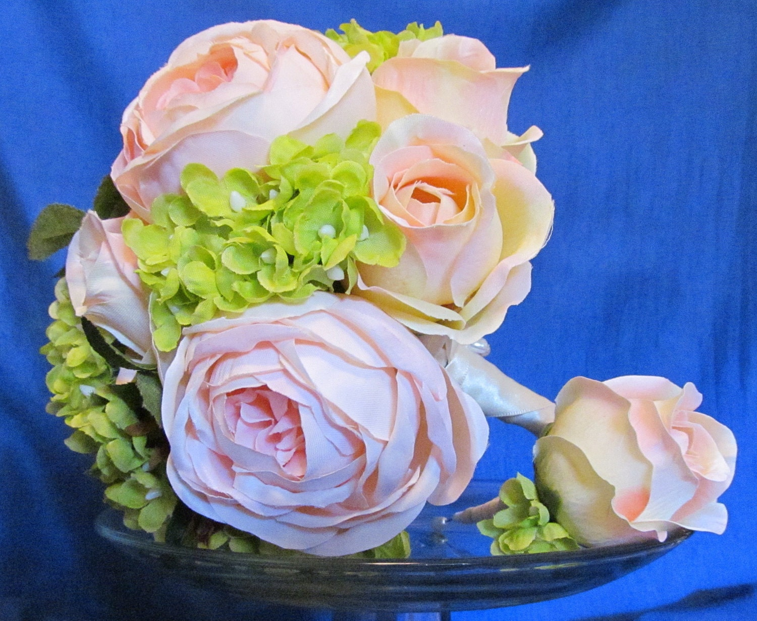 Peach Ivory Pink Roses Green Hydrangeas Bridal Wedding Bouquet and