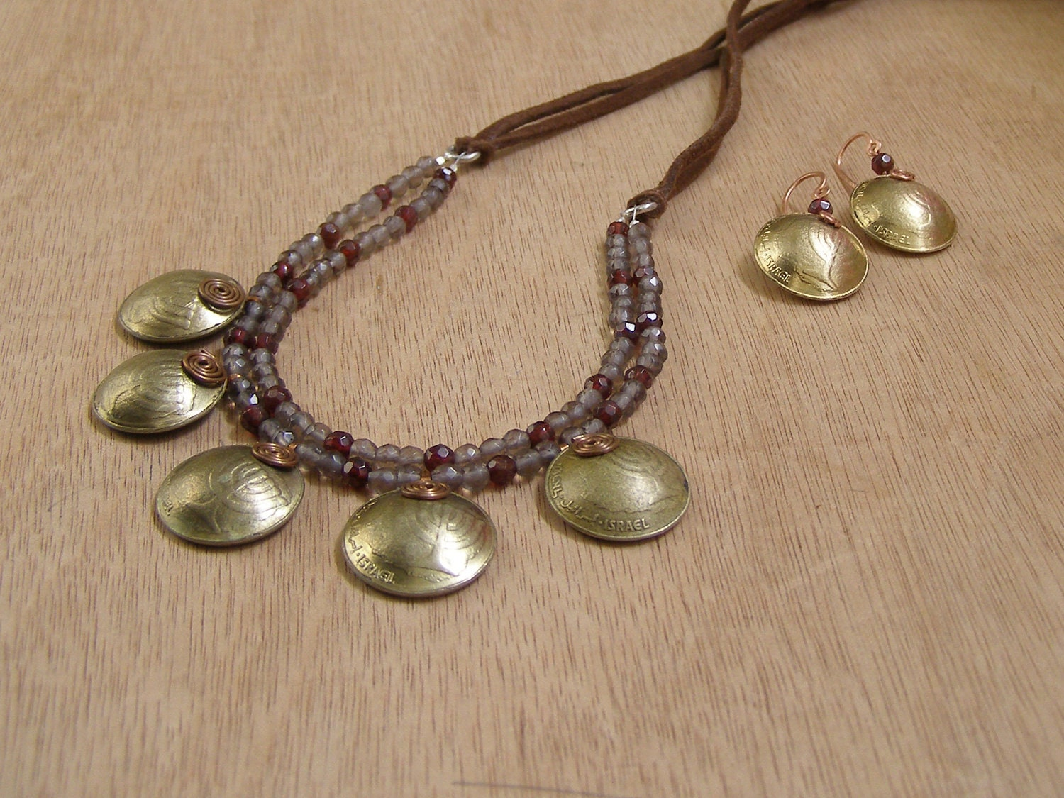 Set earrings coin necklace charm coin jewelry Grey smoky quartz necklace red wine garnet necklace statement necklace made in Israel