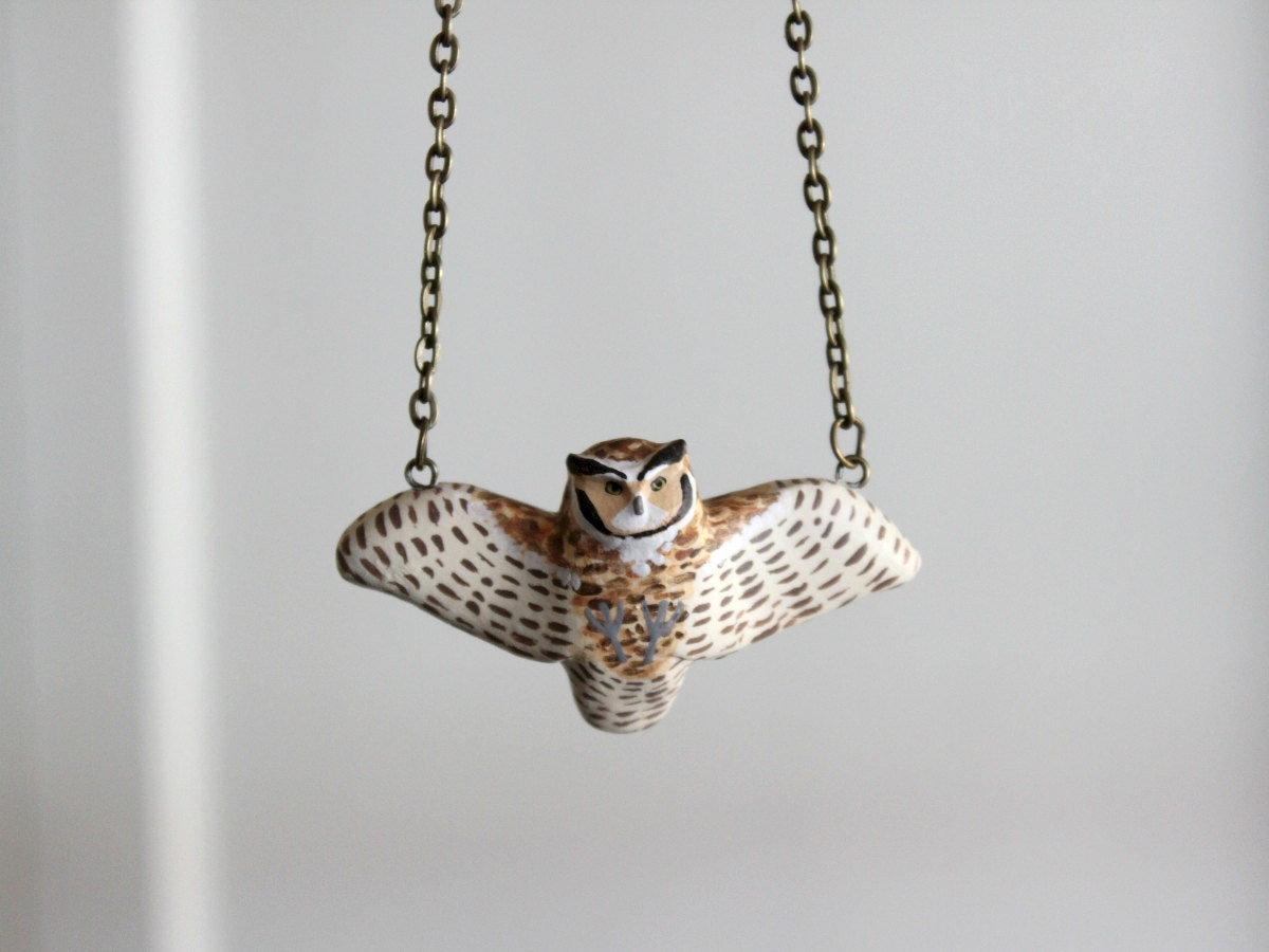 Great horned owl in flight necklace MADE TO ORDER - HandyMaiden
