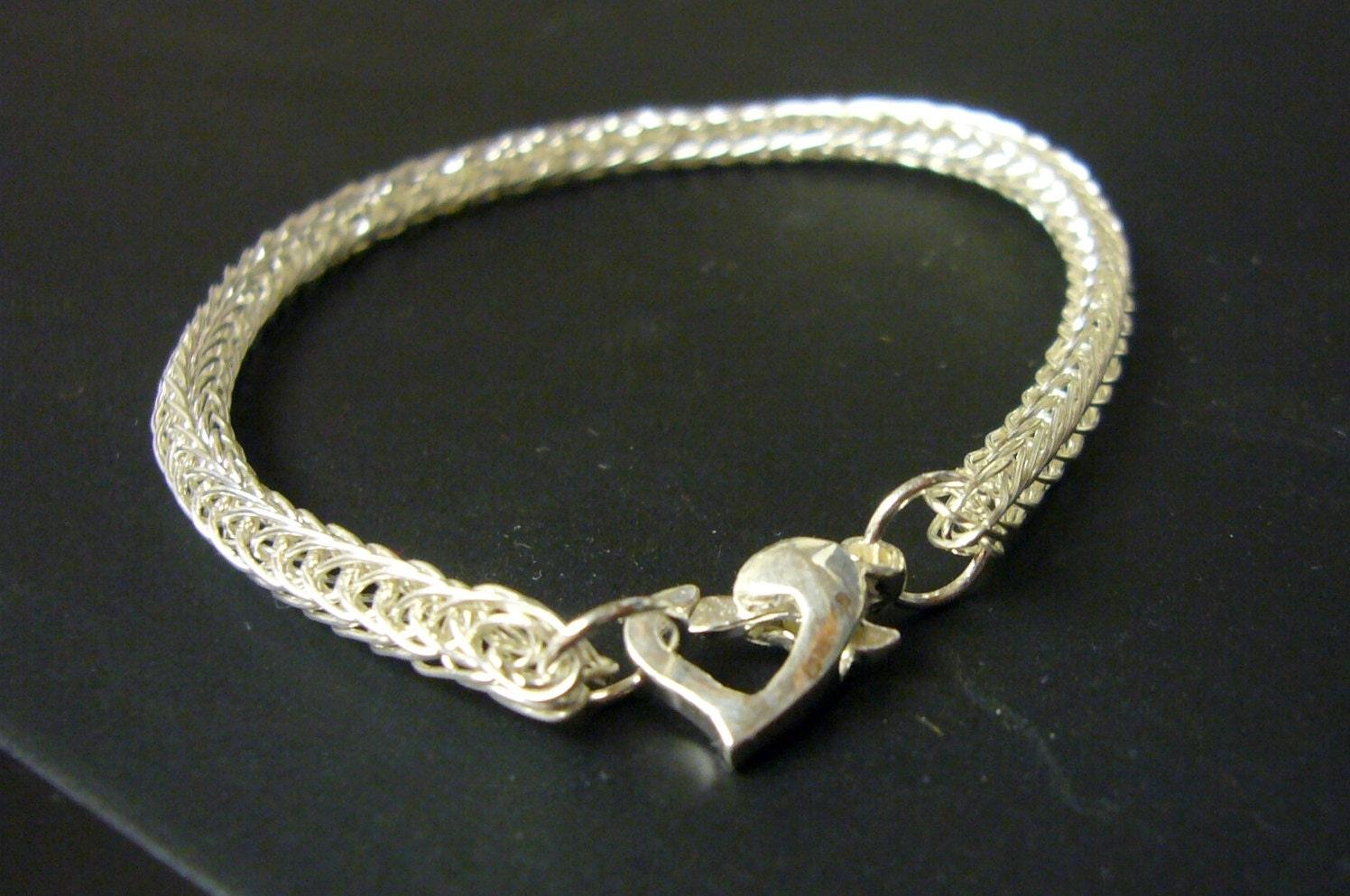 Sterling silver heart bracelet sterling silver bracelet, Wire crochet bracelet, lacy crochet, crocheted jewelry