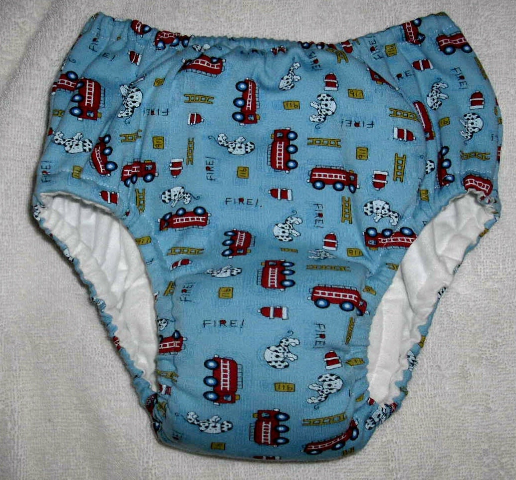 handsewnbyme Pull Up Cloth Potty Training Pants  WITHOUT Waterproof Layer Fire Trucks Size Approx. 31-35 lbs