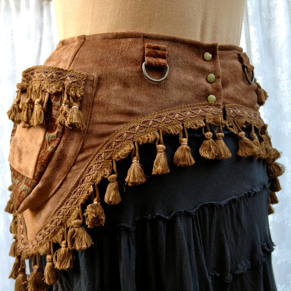 Steampunk costume belt - fancy toolbelt - brown with tassels - size Medium - bluemoonkatherine