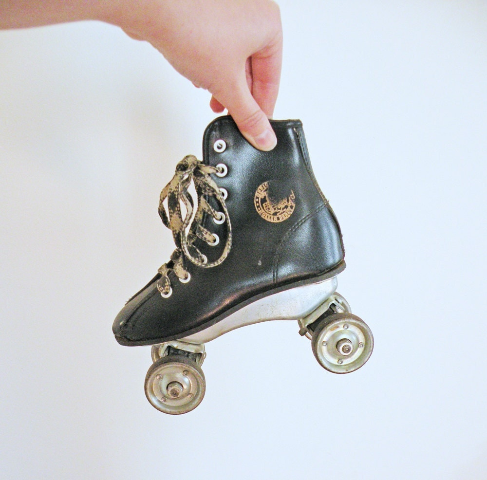 Wee Vintage Black Roller Derby Skates Vinyl with Metal Wheels Child Size for Display or Home Decor - mothrasue