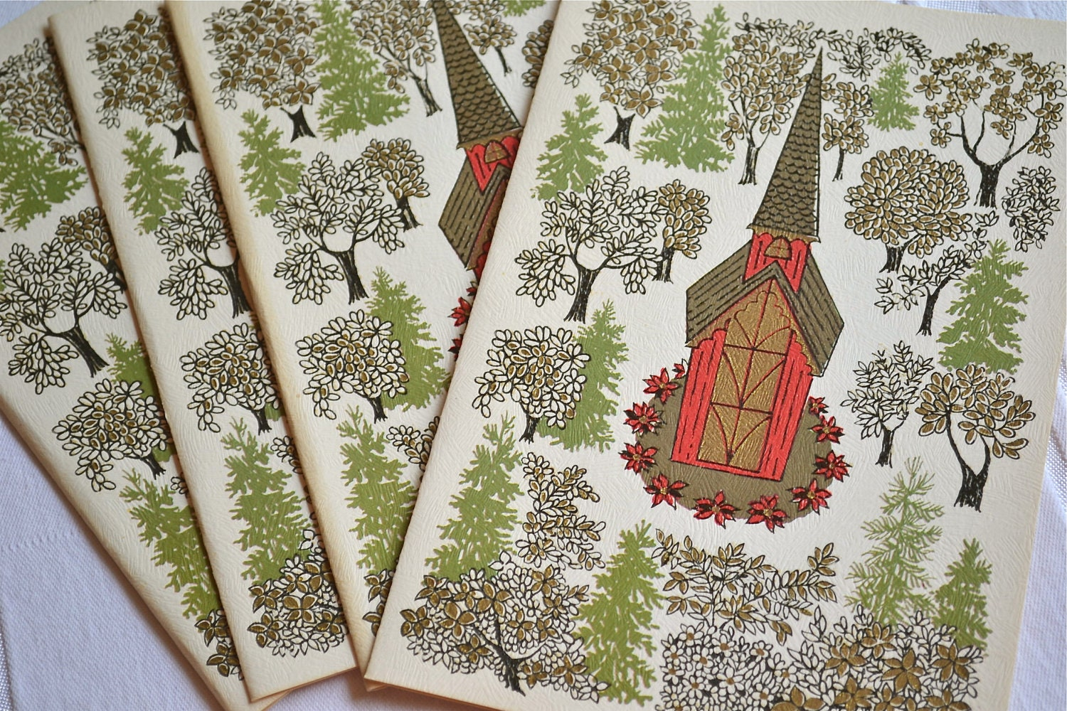 Vintage Christmas Cards - Church Steeple in the Forest - A Set of 5