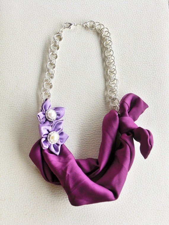 Handmade Purple Fabric Bow Necklace with Silver Helm Chain