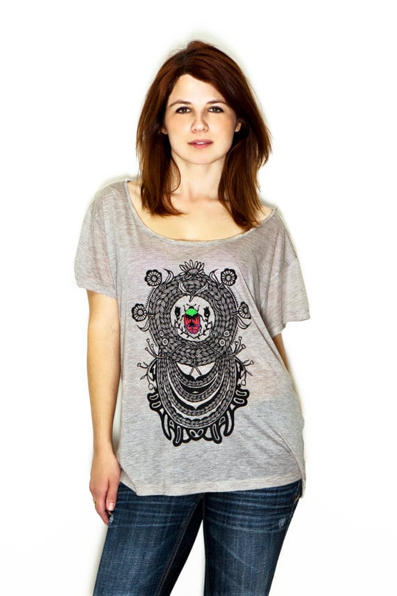 Women's T-Shirt - Oatmeal - 100% Hand Drawn Original Design Beetle Intertwined in Rope and Flowers Art - Sizes S, M, L //FREE SHIPPING//
