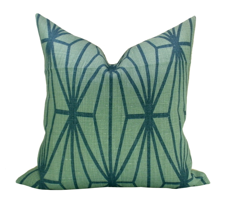 Kelly Wearstler Katana pillow cover in Jade/Teal - 22 x 22