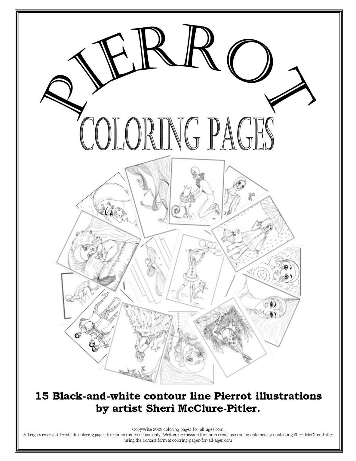 Adult Coloring Book, Pierrot Coloring Pages, intricate, printable, download, ...