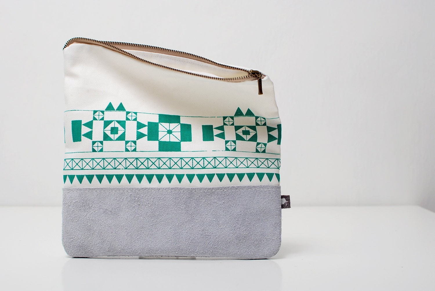 FREE SHIP Geometric Printed Leather-Suede Pouch emerald green