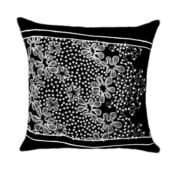 Decorative Black throw pillow case with White Lace by svetastyle