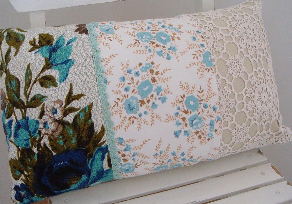 Patchwork Yastık - Mavi Çiçekli ve Oya (236)