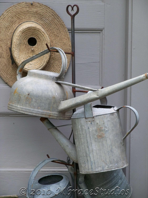 Vintage Antique Watering Cans - 5x7 fine art photograph - mbracestudios