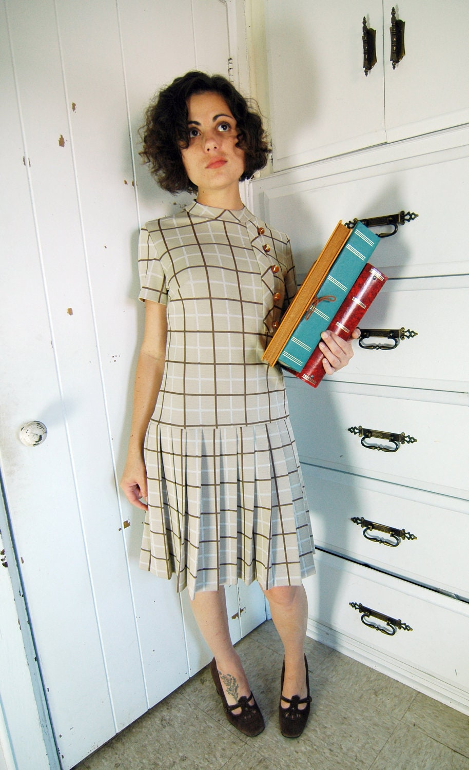 VINTAGE 1960s School Girl Dress - Beige & Brown - Andrea Gayle - MiriamMadlyVintage