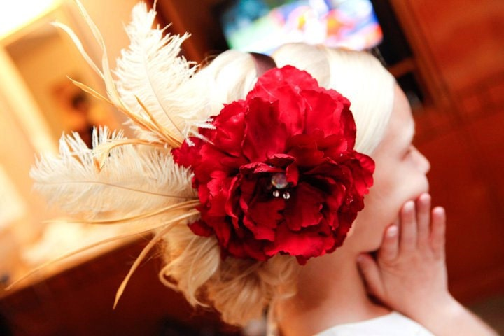 BELLE Of The BALL Red Flower Headpiece