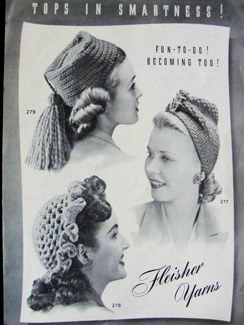 VINTAGE 1940s KNITTED CROCHET HATS PATTERN  3 STYLES TURBAN, FEZ, RUFFLED SKULLCAP