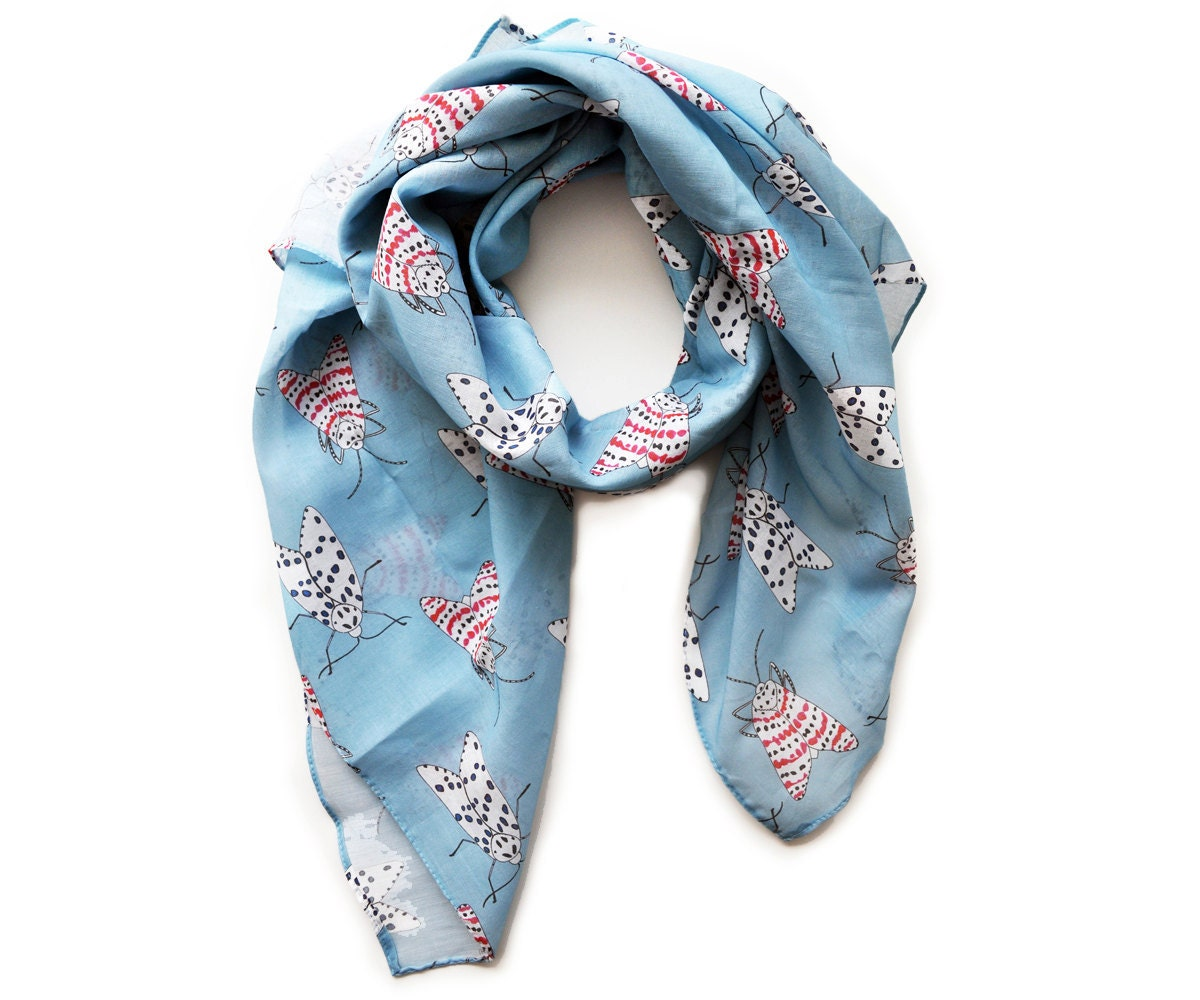 Blue Cotton Scarf with Rattlebox Moth Print