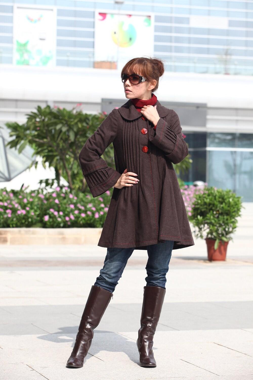 قهوه متحرک ترمه کت خز یقه زنان آستین بلند ترمه کت پشم کت ژاکت زمستان بلند - NC204