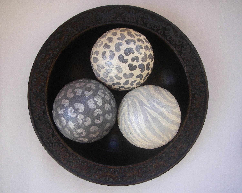 Animal Print Leopard Zebra Decorative Art Balls Set of 3 - ArtBouquet
