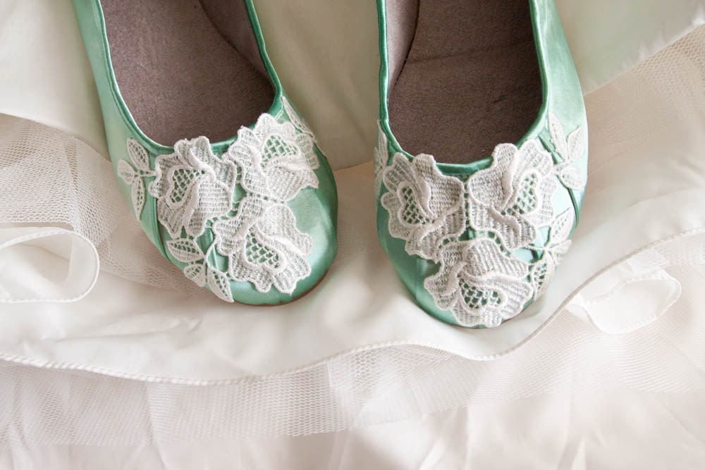 SALE Lace wedding shoes ballet flats embellished with floral Venice lace - beccaandlouise