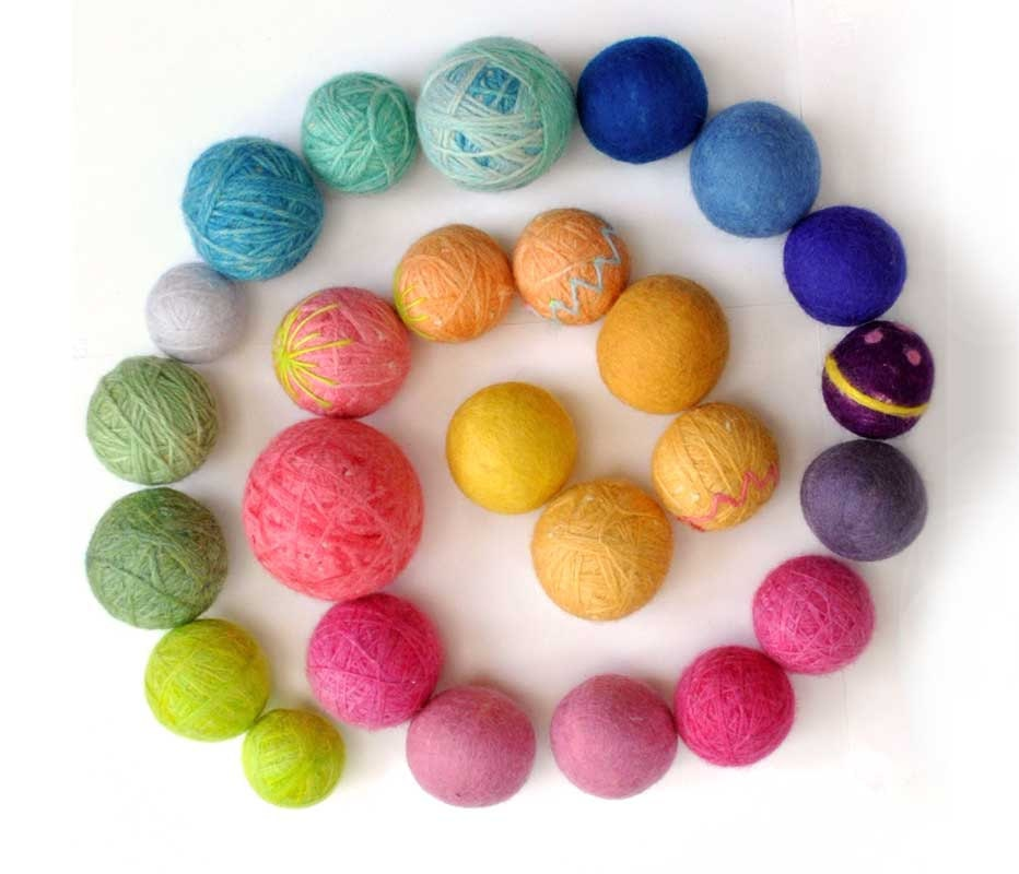 ball of wool felt dryer - natural waldorf toys rainbow of bright colors or pastel Children Spring Toy, Easter Decoration
