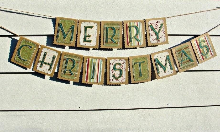 MERRY CHRISTMAS Banner, Rustic Kraft Banner