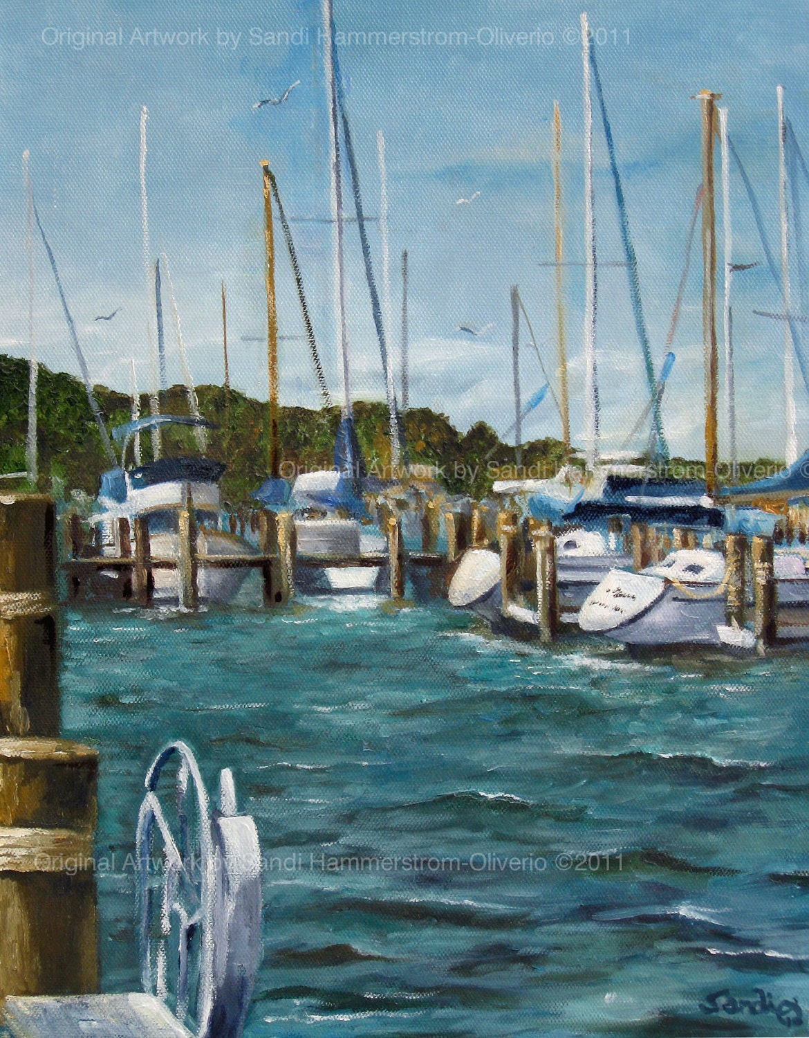 Nautical Oil Painting by Sandi - Boat Slips of Saugatuck, MI - 11 x 14
