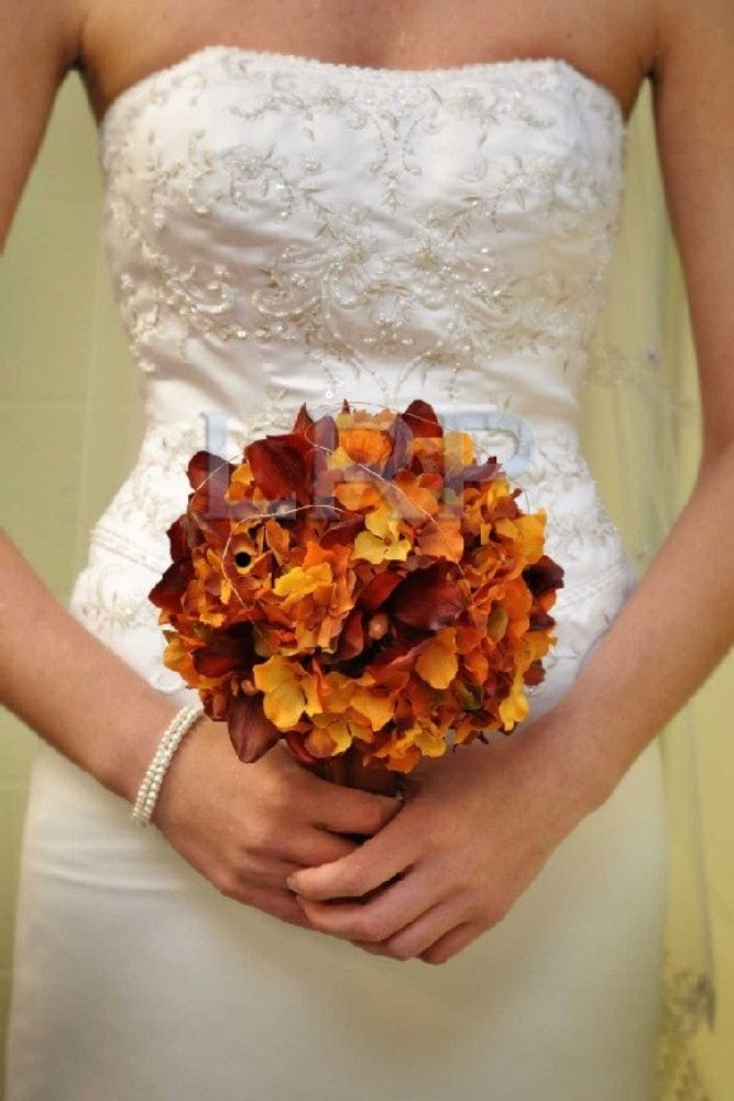 13pc Fall Wedding Set of Rust Orchids Orange Hydrangea Bronze Bouquets