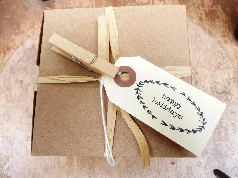 "10 ""happy holidays"" gift  tags, small printed manila tags"
