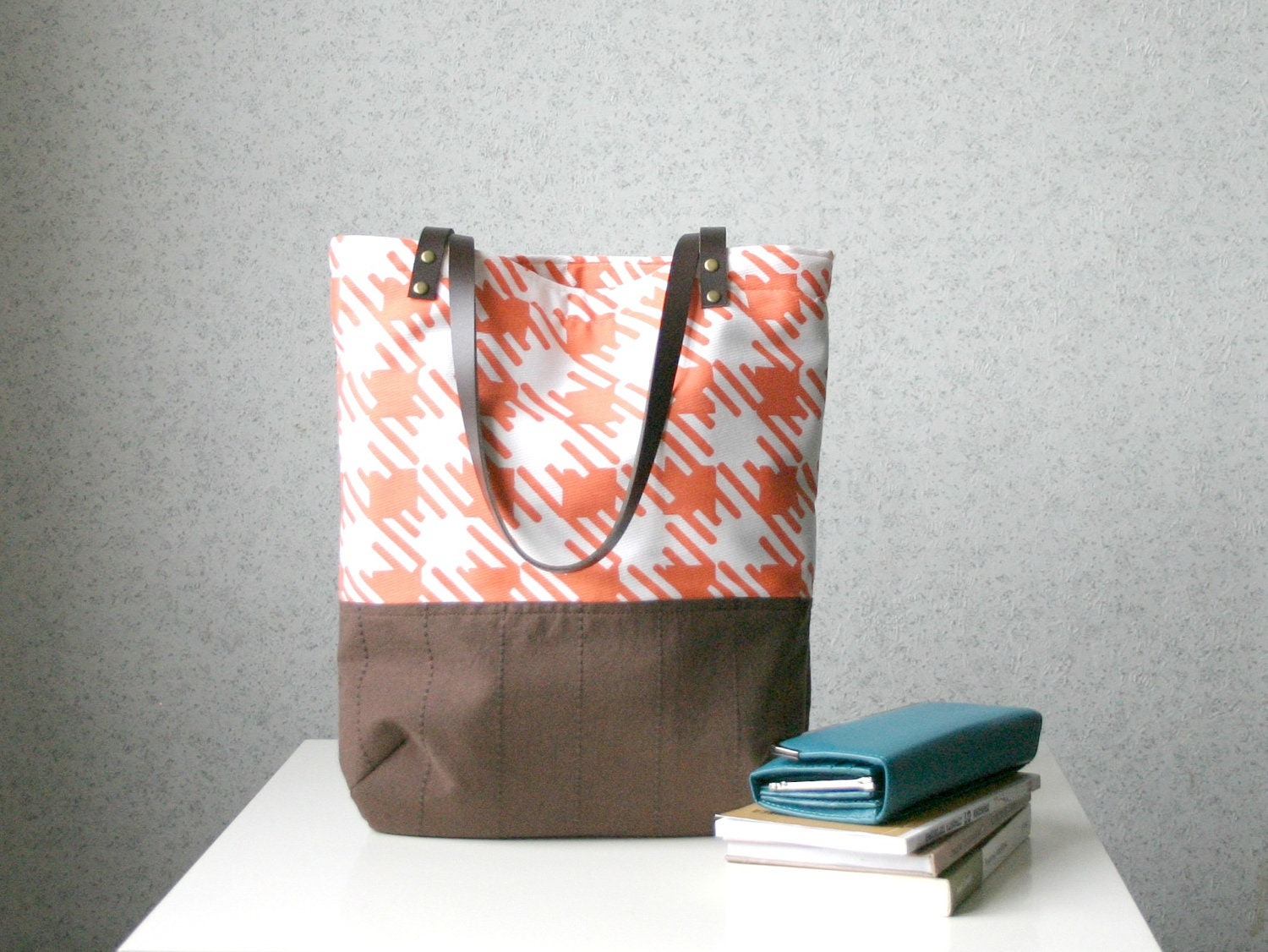 Houndstooth Colorblock Tote shoulder bag Leather straps Tangerine orange - HelloVioleta