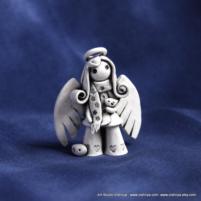 Little Autumn Angel with tiny bird by studio Vishnya