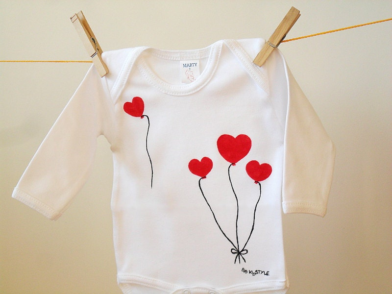 Valentines Baby Bodysuit, Children Clothing, Onesie - Heart Balloons, Baby Girl Shower Gift, Toddlers Valentines day, Hand-painted Love