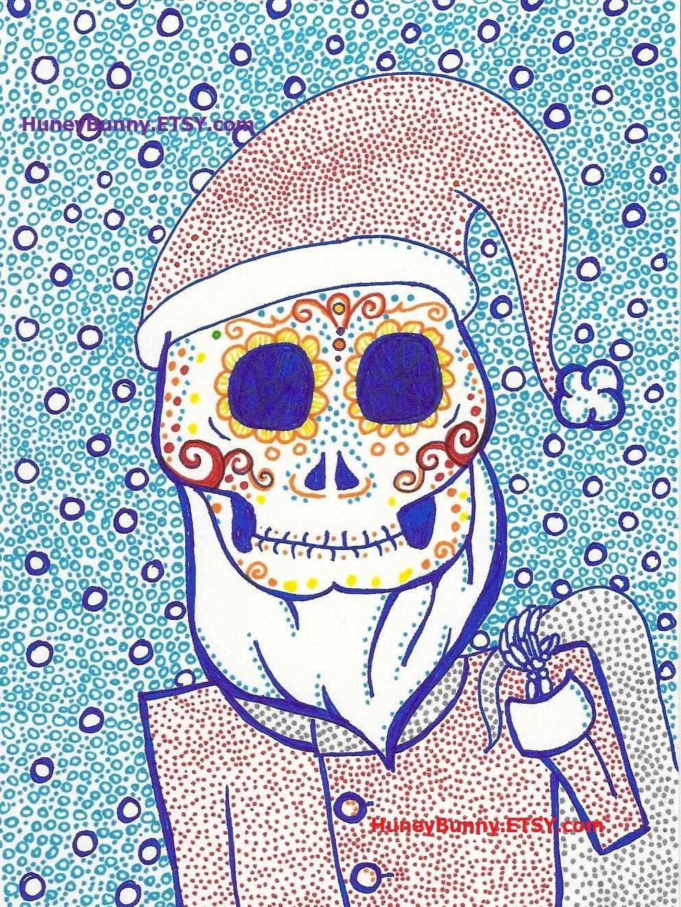 Skeleton Santa. Original DaY Of The Dead Drawing. Sugar Skull artwork with Sharpies.  Dia De Los Muertos.