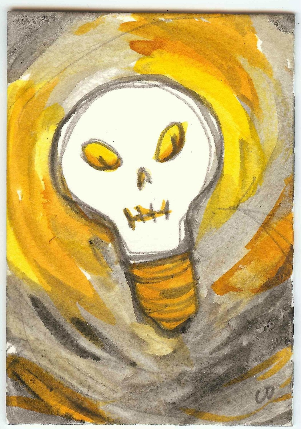 Skull Light Bulb Super Moon original aceo hand drawn ink illustration